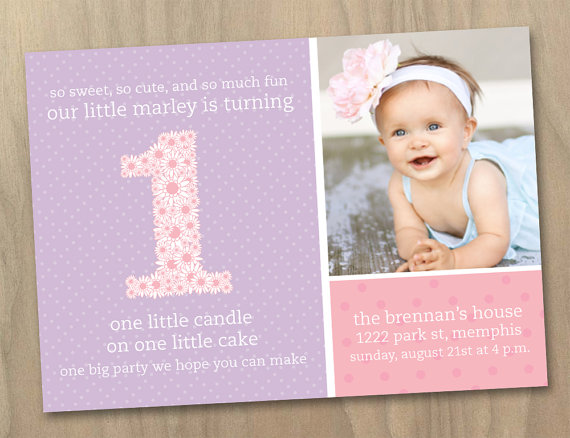 Baby Girl First (1st) Birthday Photo Invitation – Pink and Purple Polka Dots and Flowers – Custom Printable Digital File by DesignAndLife