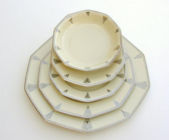 Superb Art Deco Dinnerware for 2, Deauville Community China, Ivory Cream w / Platinum, Vintage Wedding China by SusabellaBrownstein