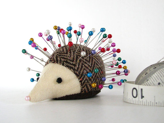 Pincushion, Hedgehog, upcycled wool, handmade, Coriander Costmary by greenchildcreations