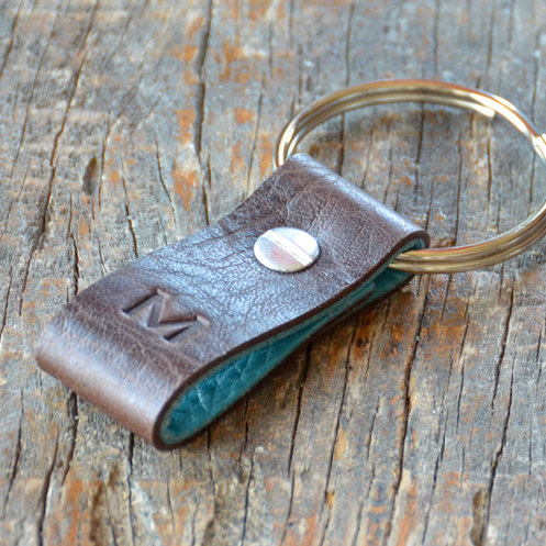Monogrammed Distressed Brown and Turquoise Leather Keychain – Short & Wide Style by jeeta