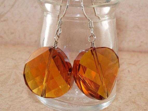 Topaz Crystal Earrings, Faceted, Rainbow, AB, Coin, Large, Sterling Silver, Handmade Jewelry, DDurda by DDurda