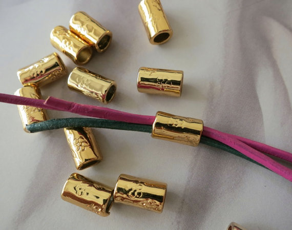 12pcs -Gold Tube Beads 6x11mm- 4.5mm big hole -G1469 by cgpjewelry