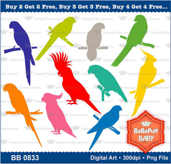 Buy 2 Get 2 Free —- Parrot and Bird Silhouette Clip Art —- Personal and Small Commercial Use —- BB 0833 by babapuffbaby