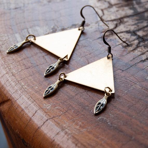Trinity Triangle Metal Earrings / Tribal Primitive Style Gypsy Earrings by redheart13