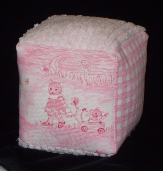 Rightsell Pink Animal Toile and Chenille Fabric Block Rattle – SALE by littlethingsboutique