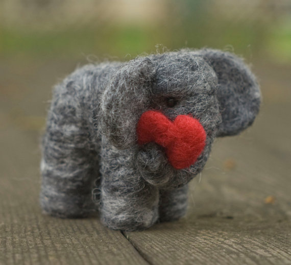 Needle Felted Elephant with Heart by scratchcraft