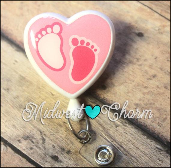 pink baby feet heart badge reel..Lanyard..id clip..nurse gift … teacher. by midwestcharmAH