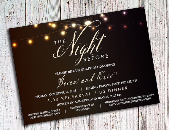 Rehearsal Dinner Invitations – Rustic Party Invitations – Wedding Rehearsal Invitations, Romantic Invitations, Script Invitations by ArtsyNikki