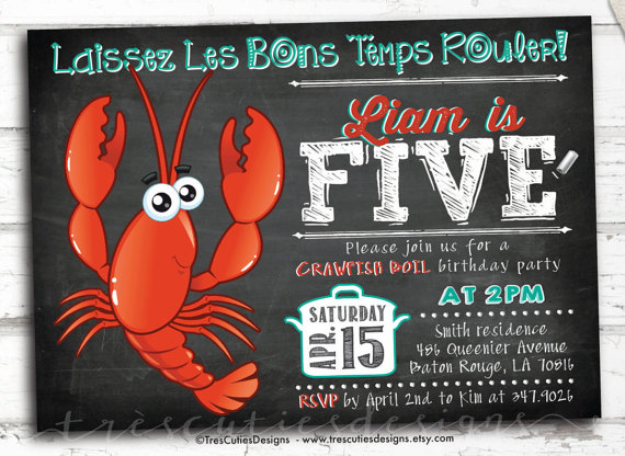 Toddler Birthday Invitations – Crawfish Boil Invitation – Chalkboard Invite Printable by TresCutiesDesigns