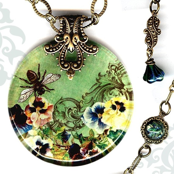 Queen Bee Necklace – Reversible Glass Art Bee Necklace – Voyageur – Green, yellow and Brown – Victorian Garden Collection – Queen Bee by tzaddishop