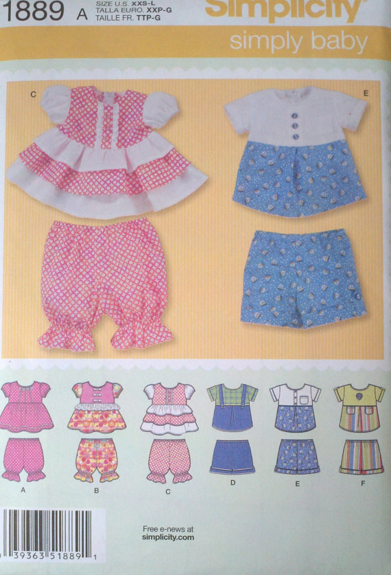 Babies Tops, Panties & Shorts – Simplicity 1889 Pattern – UNCUT by Boxtreasures