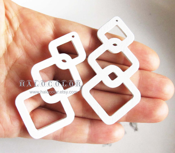 6PCS – 20x50mm Pretty White Geometry Wooden Charm / Pendant MH248 04 by halocolor