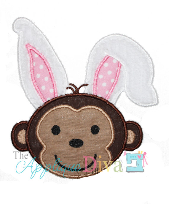 Easter Monkey Embroidery Design Machine Applique by theappliquediva