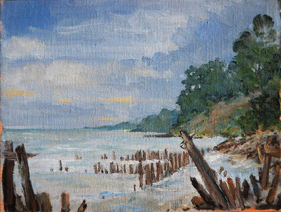 Overcast Morning in Michigan Original Oil Painting by splitfirepottery