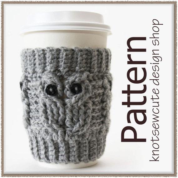Owl Love Coffee Cozy – Crochet Pattern (PDF) – INSTANT DOWNLOAD by knotsewcute