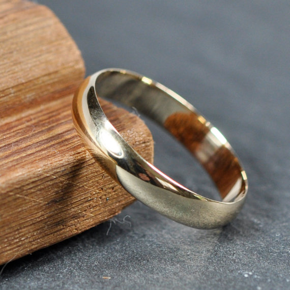 Gold Wedding Band, 14K Yellow Gold Ring, 4mm Wide Half Round Low Profile Ring, Sea Babe Jewelry by seababejewelry