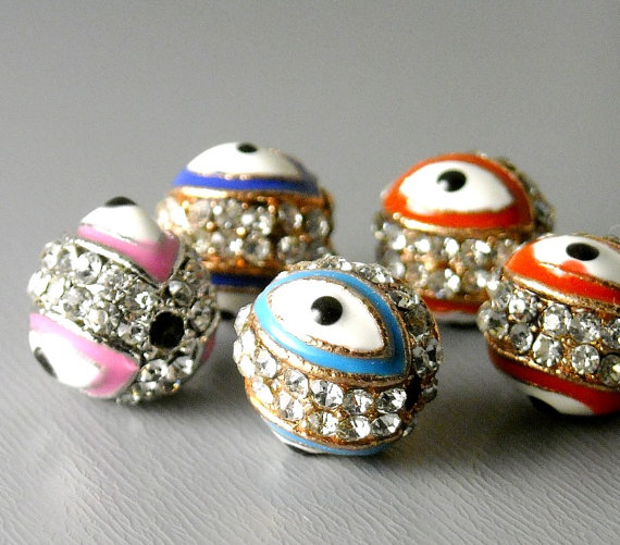 BEAD-EE-PAVE-10MM – Pave Crystal Evil Eye Bead, Platinum or Copper Plated – 1 pc by pimssupplies