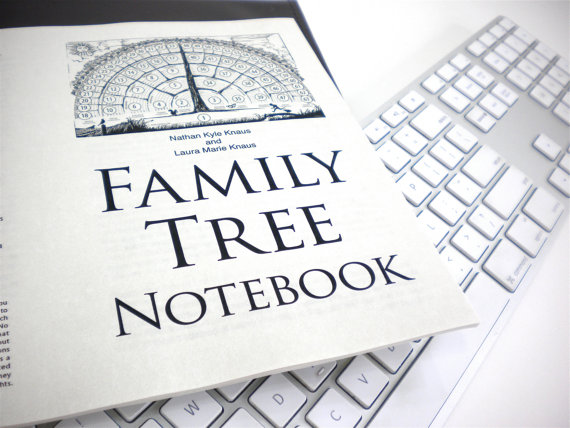Family Tree Notebook Ebook pdf-fill-in-blank-template gifts for mother father him her baby men women grandparents in-laws children by FreshRetroGallery