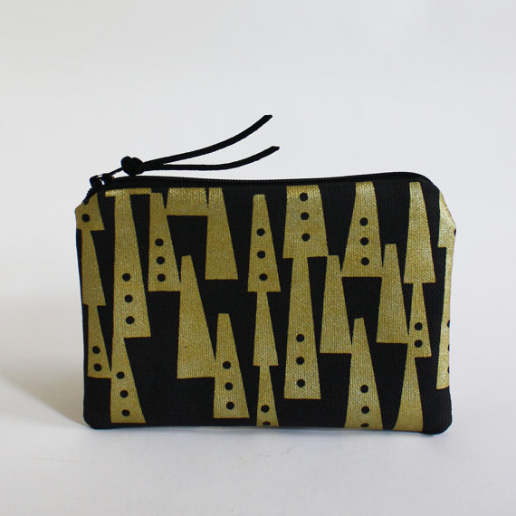 TOTEM – mini zipper pouch in black and metallic gold by modernradar