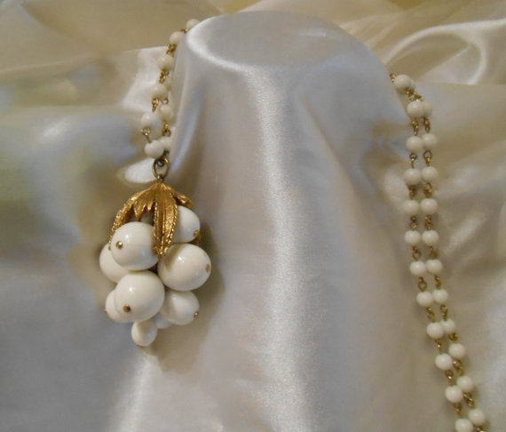 Milky White Bead Dangle Cluster Necklace by Ladysprettys