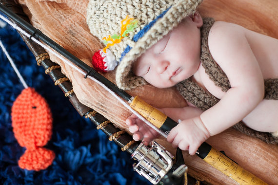 Crochet newborn 0-3 month baby fishing fishermen fisherman hat with fish boy or girl great photography photo prop by JACLYNROSEBOUTIQUE