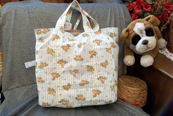 Cotton Shopping Tote Bag, Bunny Rabbits on Blue Stripes Print by OriginallyYours