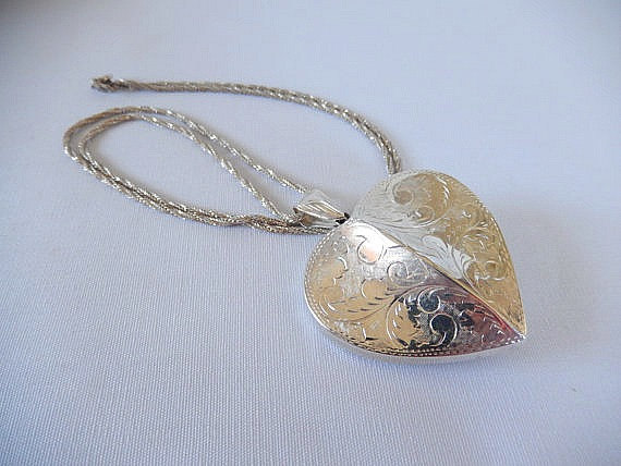 vintage sterling necklace, 925 sterling silver, made in Italy, embossed heart shaped hollow pendant by brixiana