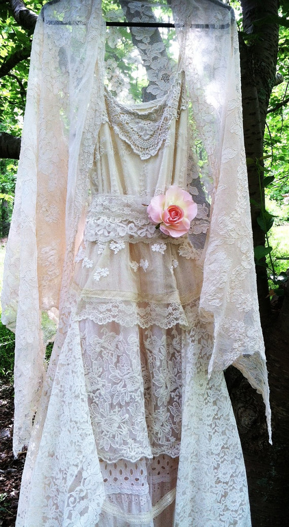 Ivory lace dress wedding tiered antique lace tulle fairytale vintage bride romantic small by vintage opulence by vintageopulence