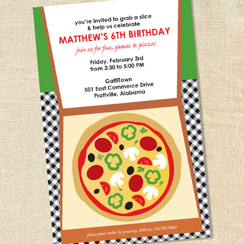 Sweet Wishes Takeout Pizza Party Invitations – PRINTED – Digital File Also Available by sweetwishesstore