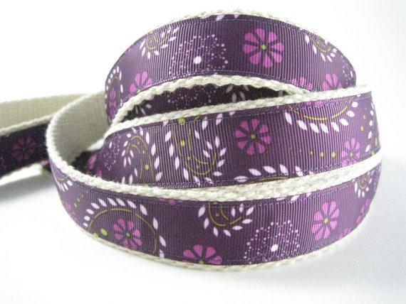 Purple Paisley hemp dog leash by collarswithcolor