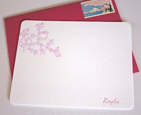 Personalized Letterpress Stationery Cherry Blossoms Spring Pink by alohaletterpress