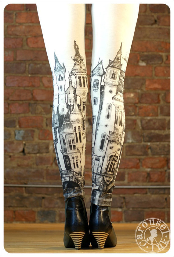 Victorian City Leggings – Womens Off White Legging tights – SMALL Legwear by Carouselink