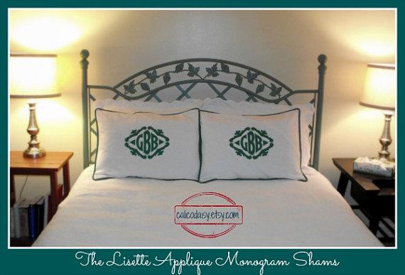 The Lisette Applique Framed Monogrammed King Pillow Shams – SET OF 2 – King 20 x 36 by calicodaisy