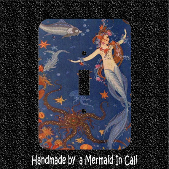 Vintage Topless Mermaid with Starfish and Octopus Light Switch Plate Covers Toggle/Rocker/Outlet by Mermaidincali