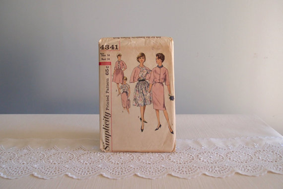 vintage sewing pattern / 50s 60s Jacket, Blouse, + 2 skirts, slim and full! … Simplicity 4341 sz 14/34 by vintagewise