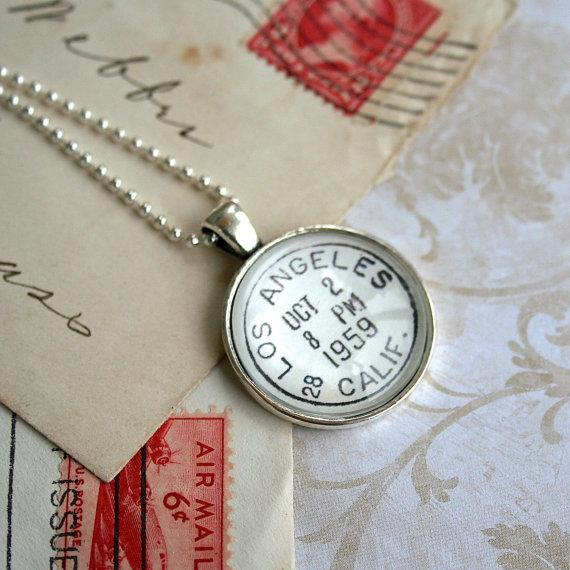 Los Angeles Vintage Postmark Necklace – Vintage Postage Los Angeles – Postage Jewelry – Los Angeles Jewelry – Los Angeles Necklace by CrowBiz