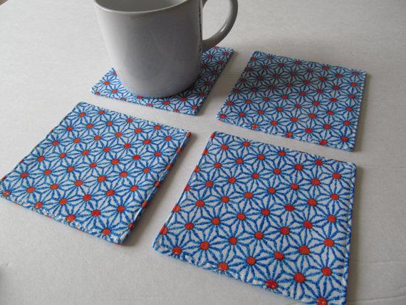 Set Of 4 Fabric Coasters / Indo Ikat by CoastersForYou
