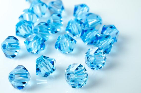Aquamarine Bicone Crystal Beads by MyGlitterStuff