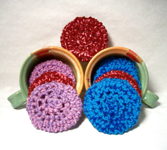 Yarn Scrubbies. Eco-friendly, scrubbers, blue, purple, burgundy, home cleaning aid, kitchen cleaner, scour pad. Pick your 3pk. by JazzysCrochet