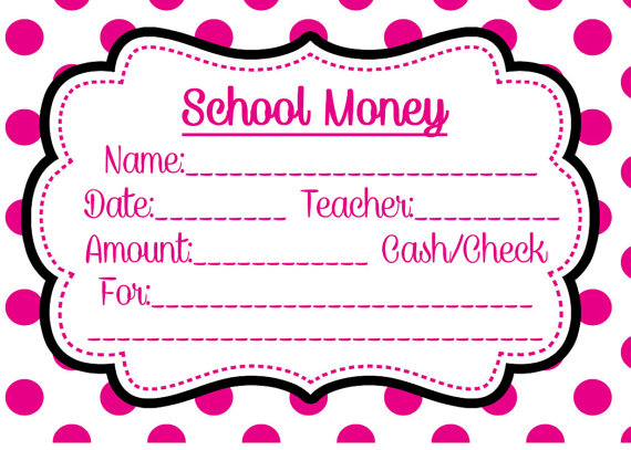 School Money Label Pink Dots Download and print yourself lunch field trip tuition elementary envelope cash check book order class classroom by SewSpoiledBoutique