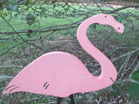 Vintage Wooden Peachy Pink Flamingo Yard Ornament – Plant Stake – Potted Plant Poke – Tropical Garden Decor – Fun Whimsical – Beach – Beachy Decor by AlloftheAbove
