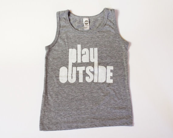 kids graphic tank top, toddler and kids, Play Outside, unisex kids shirts, modern kids 'clothes, hip kids' clothes, boys and girls tank by bchildrenswear