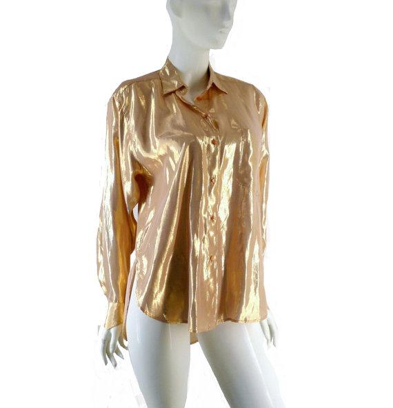 Rose Gold Lame Big Shirt Vintage 1980s Size Medium Large by BlackRockVintage