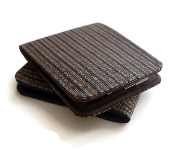 Mens Vegan Wallet / Super Thin Minimalist Billfold Wallet / Brown Pinstripe Herringbone by ohsoretro