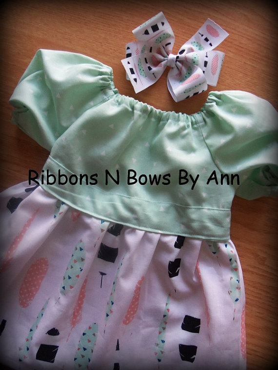 Ready To Ship Handmade Peasant Dress Size 9-12 months Comes with Matching Hair Bow by RibbonsNBowsByAnn