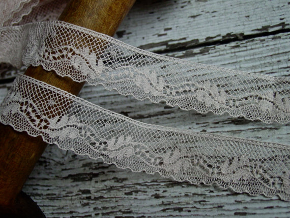Lovely Pale Peachish Pink Colored Antique French Lace, one yard by VintageTidbit