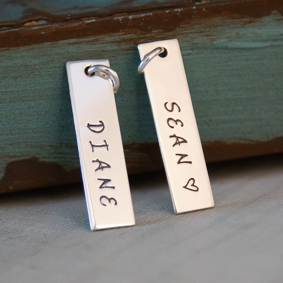 Just One Name or Date Tag – Sterling Silver Hand Stamped Vertical Rectangle Tag – Personalized Charm by IntentionallyMe