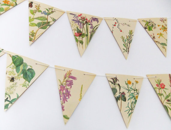 Spring and Summer Paper Bunting, Wedding Garland, Flower banner, eco-friendly bunting, wedding decor, Wedding Pennants by PeonyandThistle