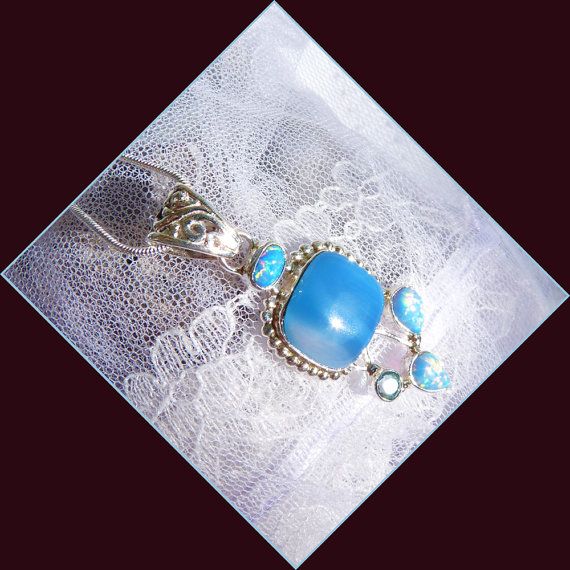 Blue Agate – Fire Opal Combination – Necklace DD 8756 by treasure4ever