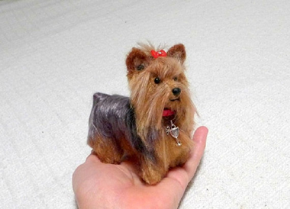 Personalized Gift / Miniature Poseable Art Doll / Custom Pet Portrait / handmade One of a Kind Sculpture / example Yorkie by GourmetFelted